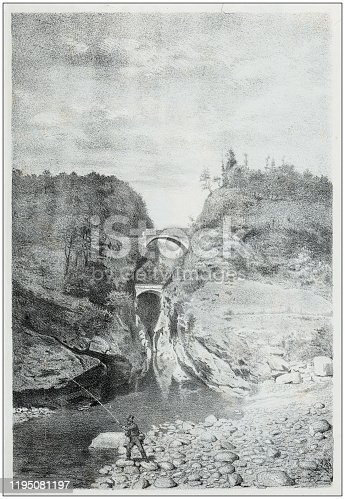 Antique illustration of people and places of the Italian Alps, Valsesia, Piedmont: Ponte della Gula