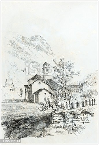 Antique illustration of people and places of the Italian Alps, Valsesia, Piedmont: San Giuseppe di Rima