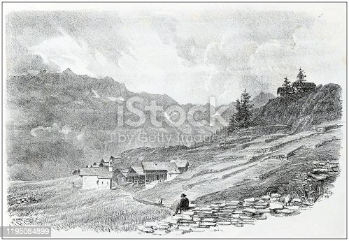 istock Antique illustration of people and places of the Italian Alps, Valsesia, Piedmont: Val D'Otro, Corno Bianco 1195084899