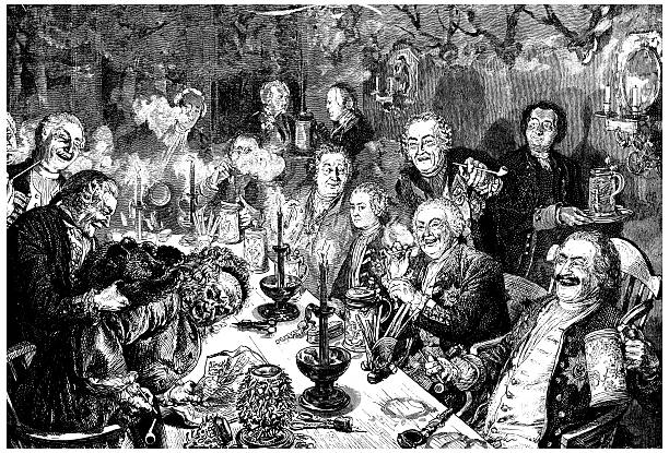 antique illustration of people drinking and smoking - old man funny pictures stock illustrations, clip art, cartoons, & icons