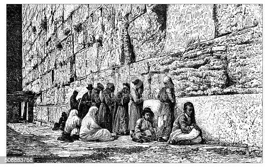 Antique illustration of people (veiled women, men and kids) praying at the Place of Weeping (part of the Western Wall, Wailing Wall or Kotel in the Old City of Jerusalem, Israel)