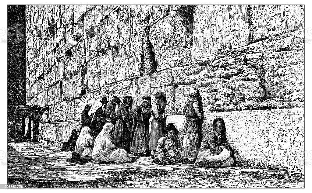Antique illustration of people praying at Place of Weeping (Jerusalem) vector art illustration