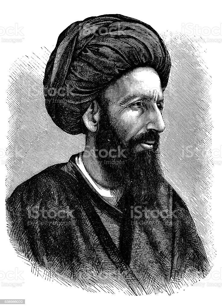 Antique illustration of Persian man vector art illustration