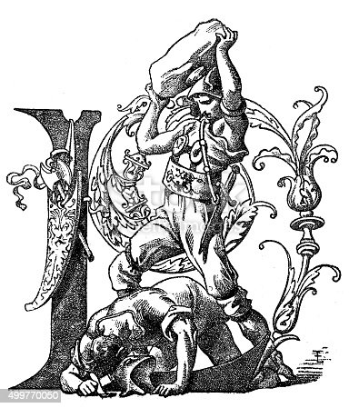Antique illustration of a personified letter L, illustrated with two men fighting: a defeated man holding a dagger or a sword is on the ground on his hands and knees and a second man in an ancient military outfit is standing and he is about to hit the lying man with a big stone. The image also features vegetal motifs and an axe and a scabbard hanging from the letter L body