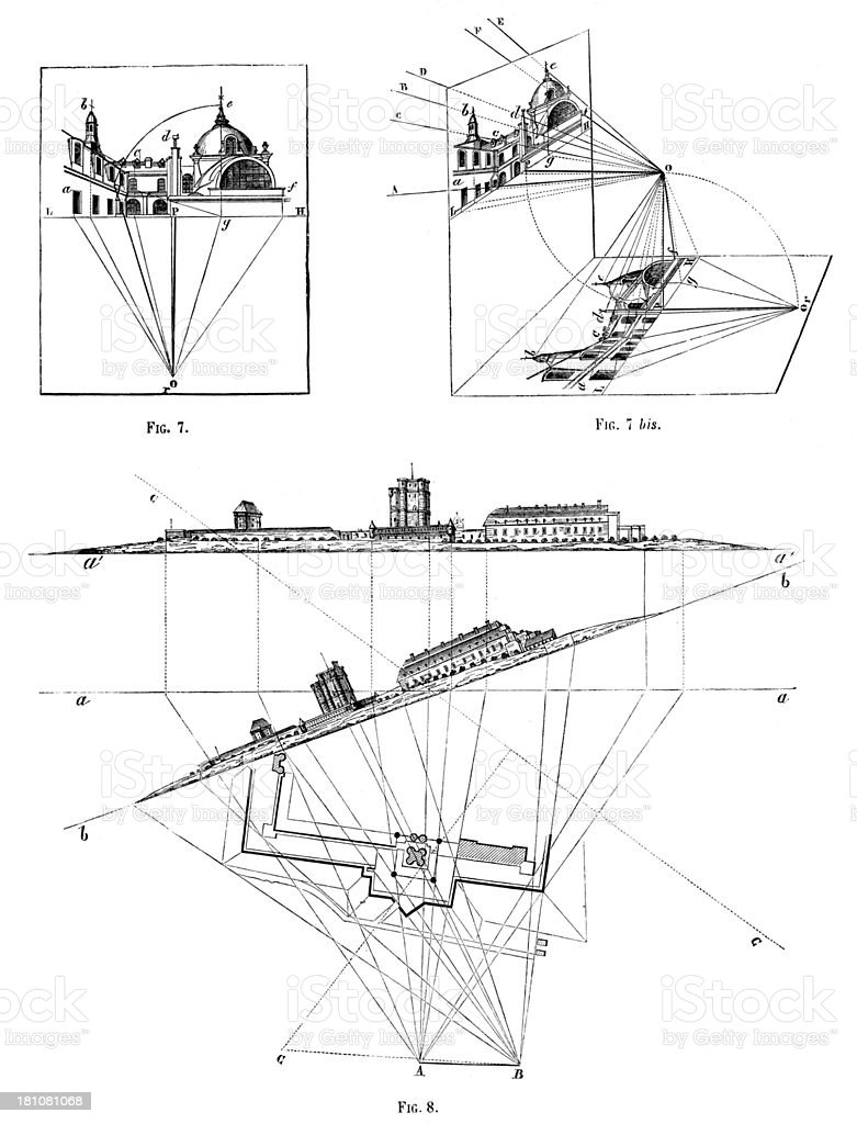 Antique illustration of perspective and projection study royalty-free antique illustration of perspective and projection study stock vector art & more images of 19th century style