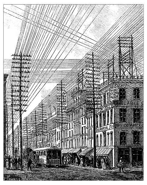 antique illustration of philadelphia power lines - 都市 モノクロ点のイラスト素材/クリップアート素材/マンガ素材/アイコン素材