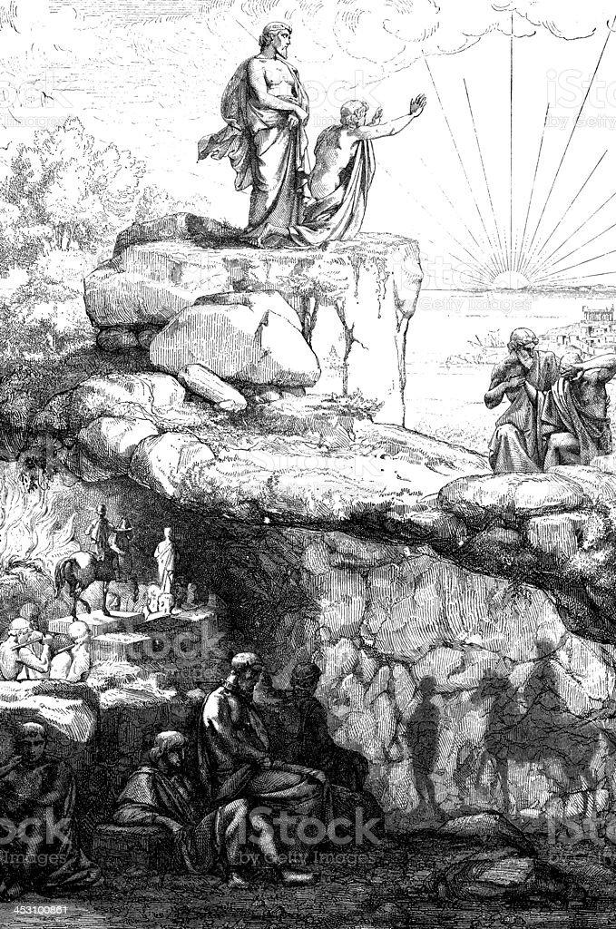 Antique illustration of Plato's cavern vector art illustration