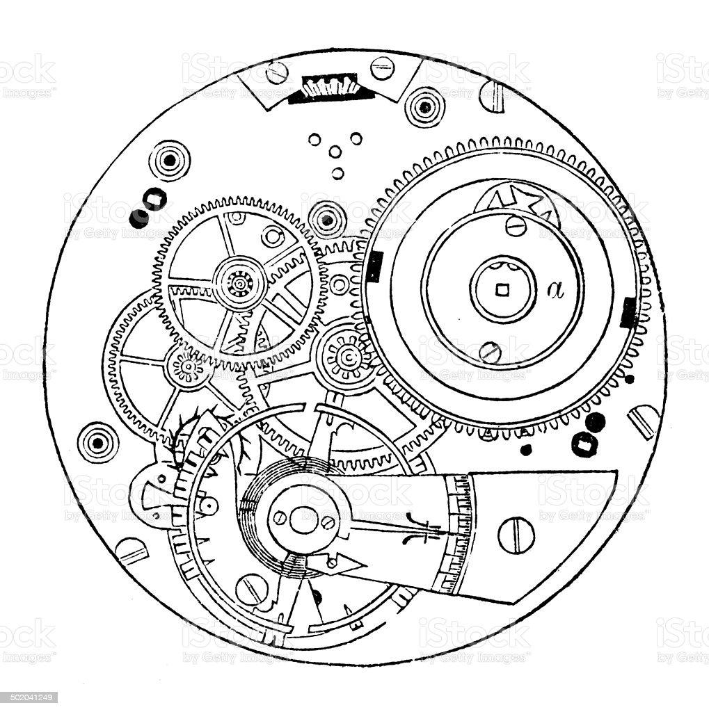 Antique illustration of pocket watch vector art illustration