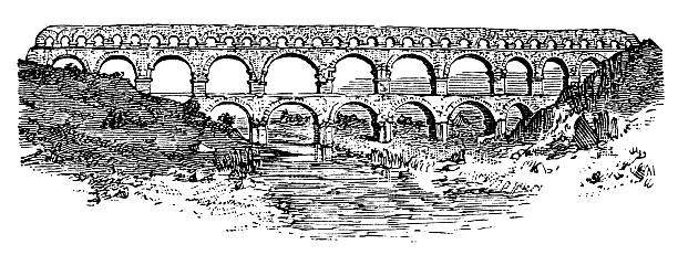 stockillustraties, clipart, cartoons en iconen met antique illustration of pont du gard (gard bridge) - pont du gard