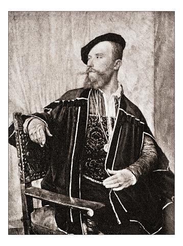 "Antique illustration of ""Portrait de Courtois"" by Von Stetten"
