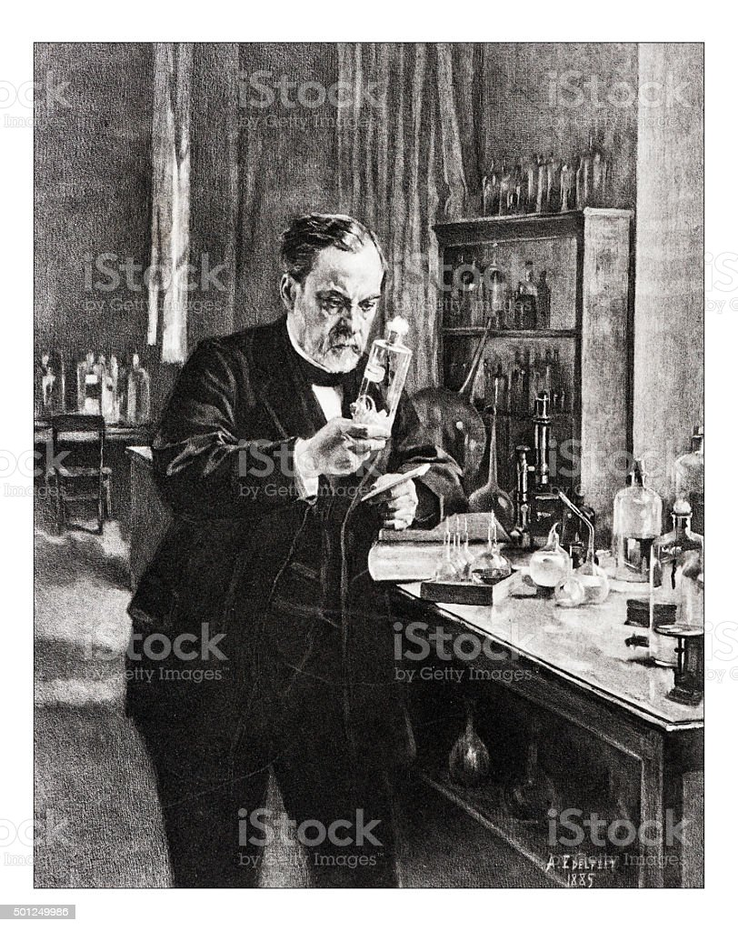 Antique illustration of 'Portrait de Pasteur' by Edelfelt vector art illustration