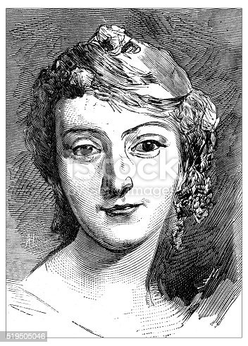 Antique illustration of portrait of a very beautiful 18th century French opera singer called Mademoiselle Fel (Marie Fel), portrayed by the 18th century French painter Maurice Quentin de la Tour (here in an engraving from the pastel ofde La Tour made by Leveille