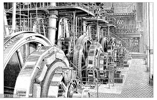 Antique illustration of power plant