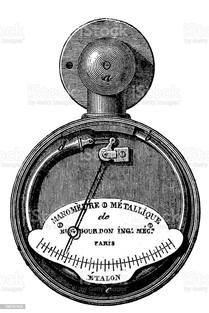 Antique illustration of pressure gauge vector art illustration
