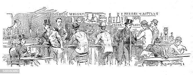 Antique illustration of pub/coffee shop