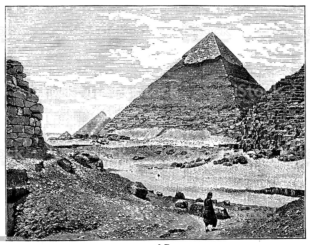 Antique illustration of Pyramid vector art illustration