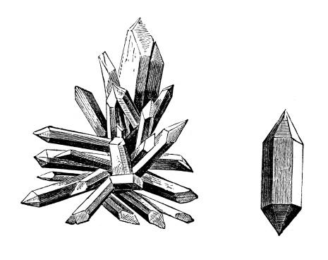 Antique illustration of quartz crystals