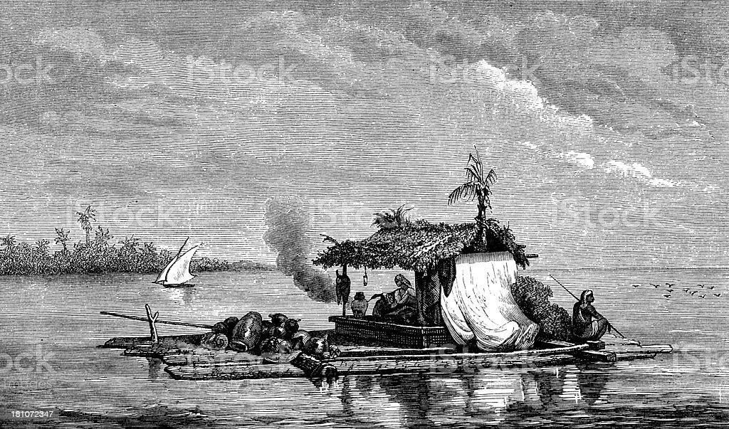 Antique illustration of raft vector art illustration