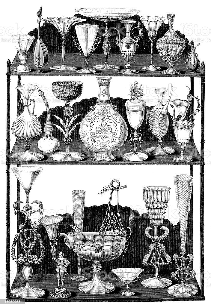 Antique illustration of rare vases (Collection Sauvageot in Louvre Museum) royalty-free stock vector art