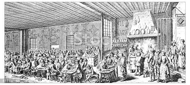 Antique illustration of restaurant
