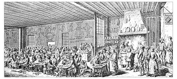 ilustraciones, imágenes clip art, dibujos animados e iconos de stock de anticuario ilustración de restaurante - busy restaurant kitchen