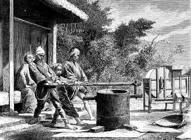 Antique Illustration of Rice Mill in 19th Century Japan vector art illustration