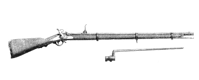 Antique illustration of rifle bayonet