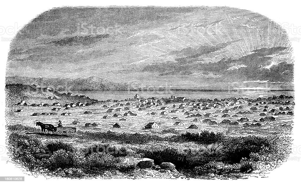 Antique illustration of Salt Lake City royalty-free stock vector art