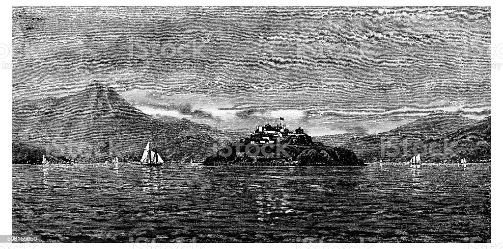 Antique illustration of San Francisco bay and Alcatraz Island vector art illustration