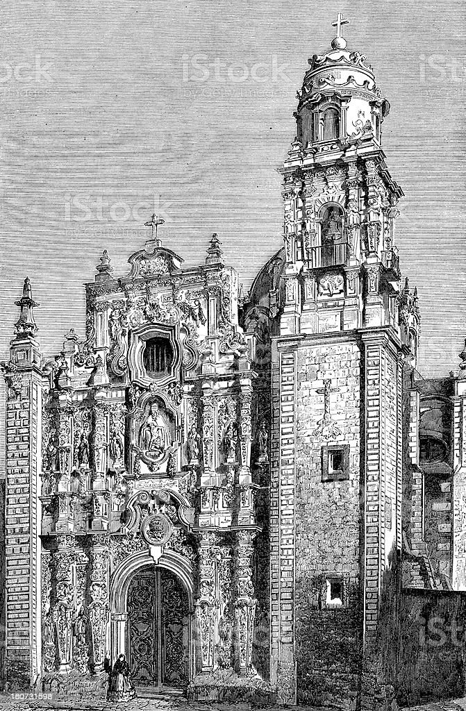 Antique illustration of Santissima Trinitad in Mexico City royalty-free stock vector art