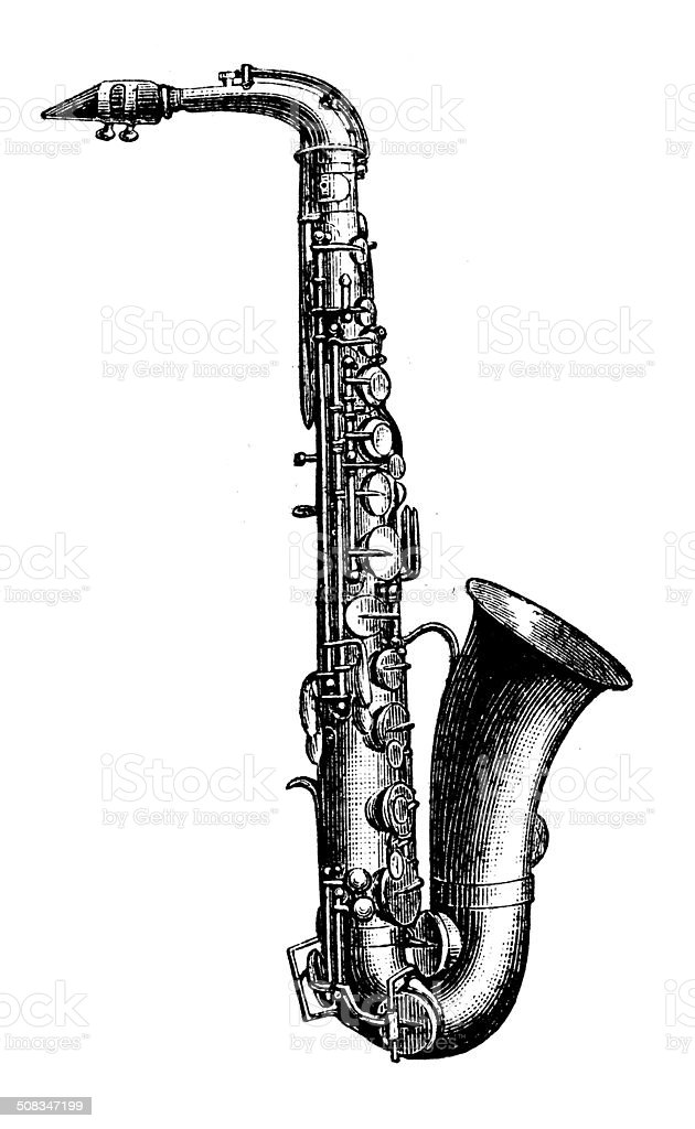 Antique illustration of saxophone vector art illustration