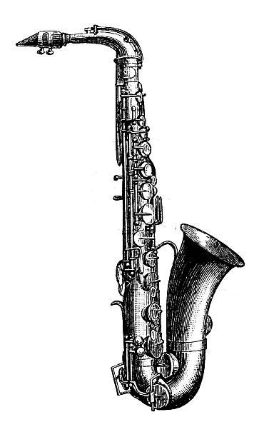 ilustrações de stock, clip art, desenhos animados e ícones de antiguidade ilustração de saxofone - saxofone