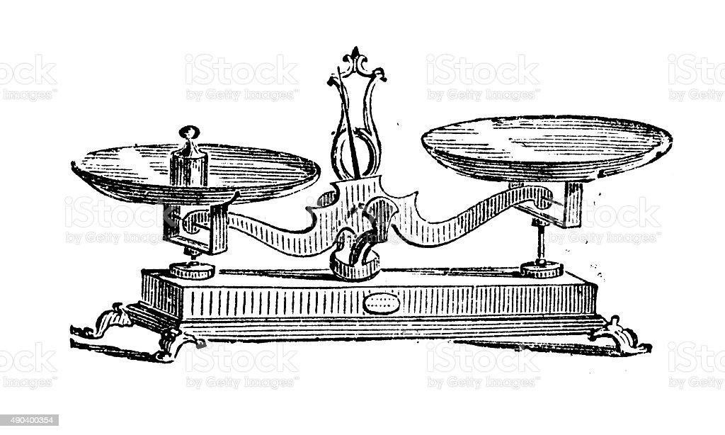 Antique illustration of scale Antique illustration of scale 19th Century stock illustration