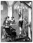 Antique illustration of scientific discoveries, anesthesia: Witch torture