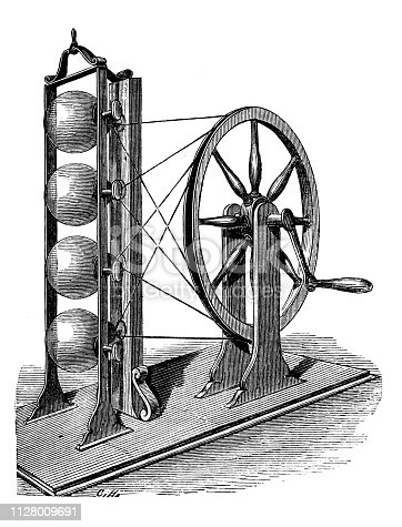 Antique illustration of scientific discoveries, electricity and magnetism: Watson machine