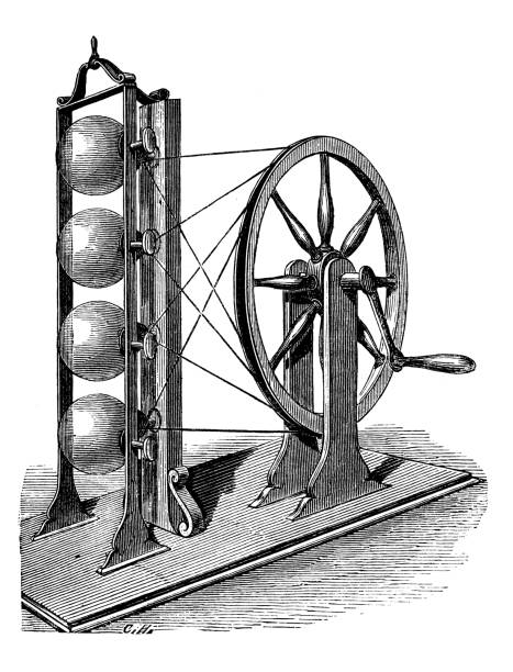 antique illustration of scientific discoveries, electricity and magnetism: watson machine - watson stock illustrations