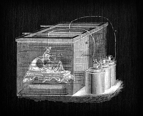Antique illustration of scientific discoveries, electroplating