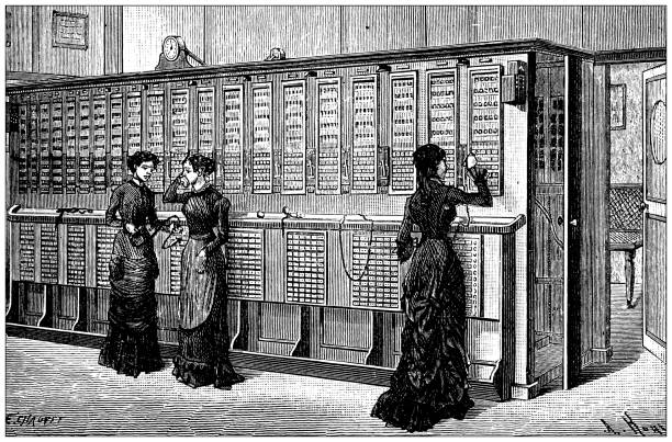 Antique illustration of scientific discoveries, experiments and inventions: Telephone, switchboard exchange Antique illustration of scientific discoveries, experiments and inventions: Telephone, switchboard exchange switchboard operator vintage stock illustrations