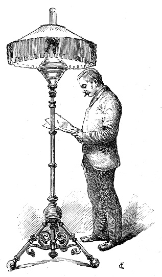 Antique illustration of scientific discoveries, experiments and inventions: Oil lamp
