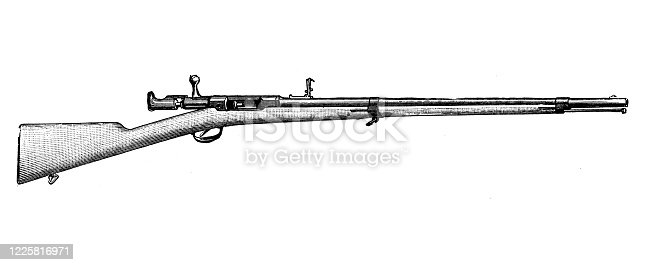 istock Antique illustration of scientific discoveries, experiments and inventions: Rifle 1225816971