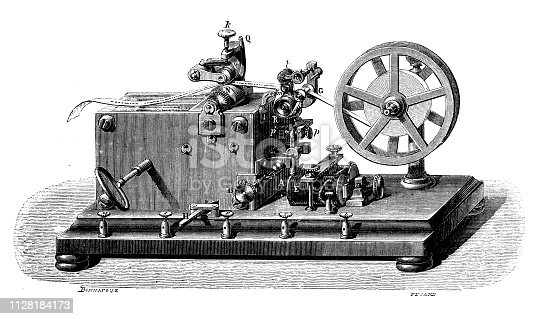 Antique illustration of scientific discoveries: global communication and telegraph: Morse telegraph