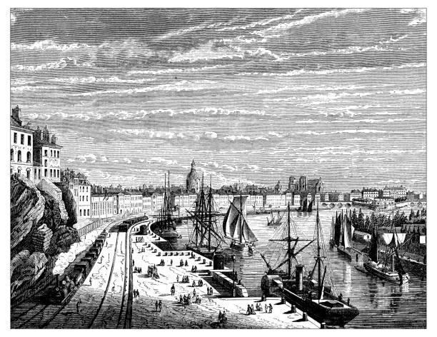 illustrations, cliparts, dessins animés et icônes de antique illustration des découvertes scientifiques: voie ferrée nantes - nantes