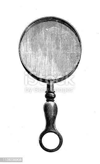 Antique illustration of scientific discoveries, photography: Magnifying glass