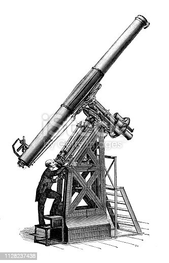 Antique illustration of scientific discoveries, photography: Telescope