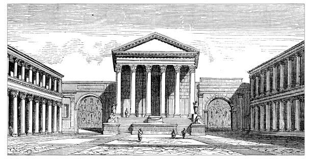 Antique illustration of scientific discoveries: Pompeii forum Antique illustration of scientific discoveries: Pompeii forum roman forum stock illustrations
