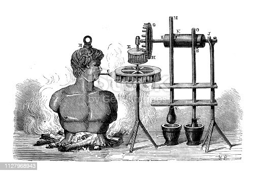 Antique illustration of scientific discoveries: Steam power, Branca aeolipile