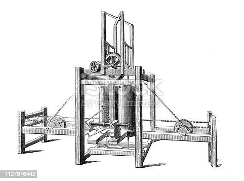 Antique illustration of scientific discoveries: Steam power engine for steamboat by Miller, Taylor, Symington