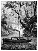 Antique illustration of scientific discoveries: Steam power, John Fitch steamboat on Delaware
