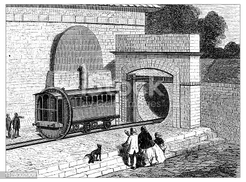 Antique illustration of scientific discoveries: Steam power locomotive subway