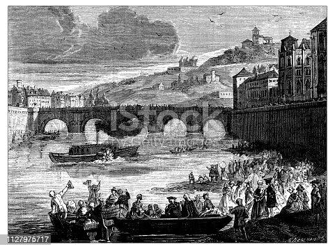 Antique illustration of scientific discoveries: Steam power, Marquis de Jouffroy experiment